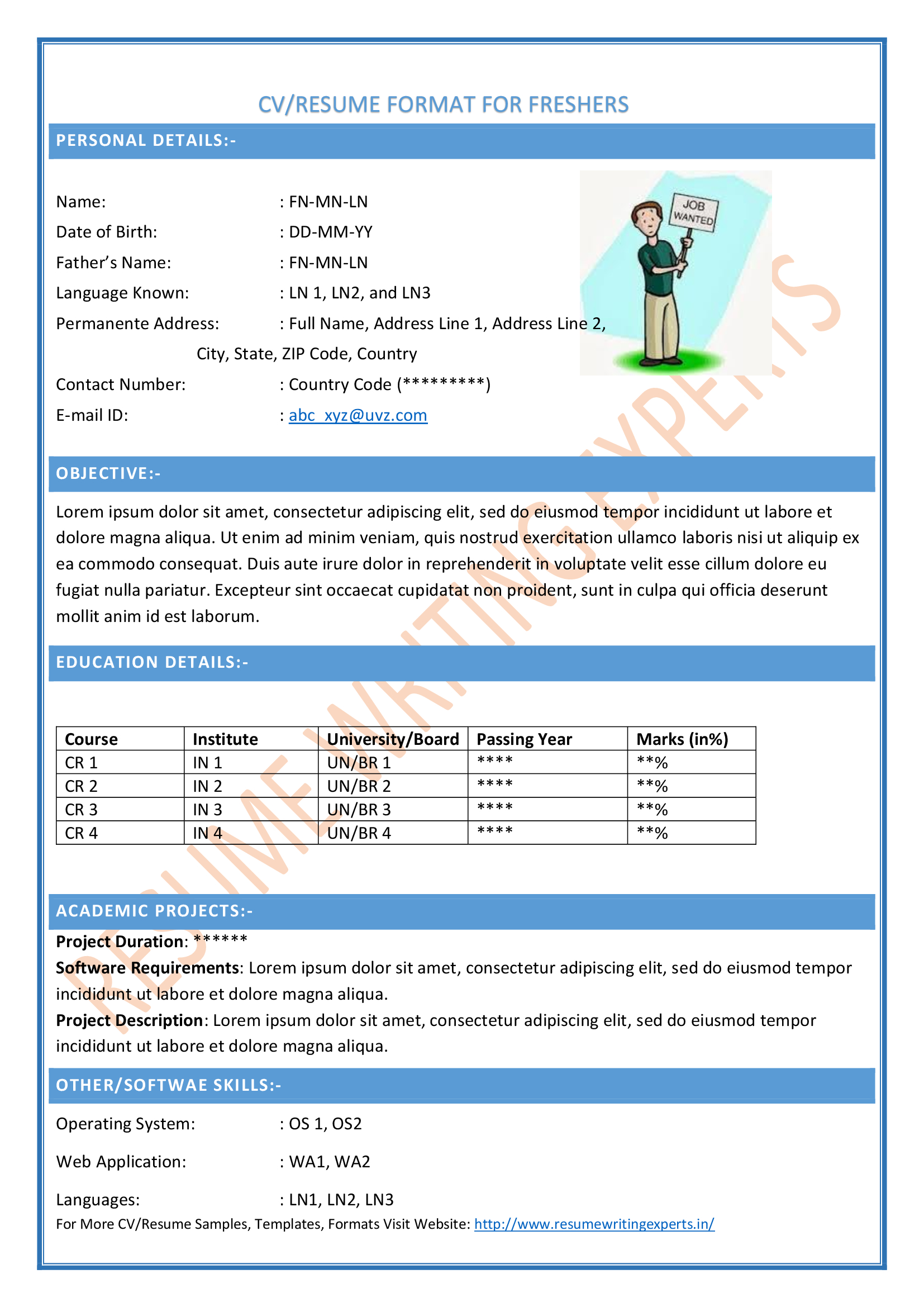browse our popular resume template samples - Online Resume Formats 2